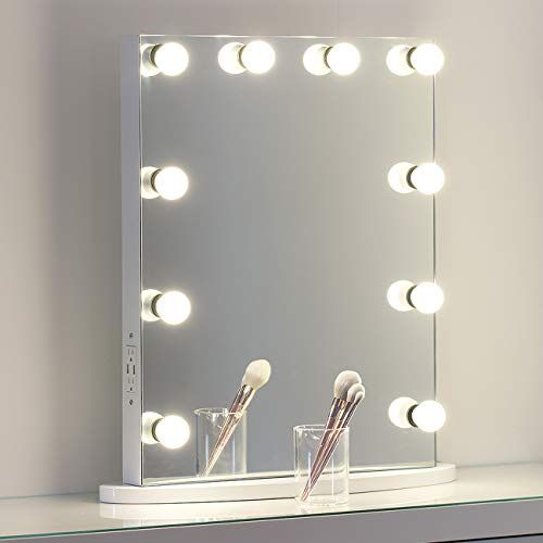 Missmii Flameless Hollywood Lighted Makeup Vanity Mirror Dimmer Tabletop Or Wall Mirrors For Bedroom Professional Illuminated Cosmetic Mirror Led Dimmable Light Mirror Wall Bedroom Mirror Wall Vanity Mirror