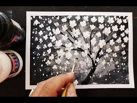 Easy Cherry Blossom Flower Black And White Painting Step By Step Tutorial For Beginners Cherry Blossom Painting Cherry Blossom Flowers Step By Step Painting