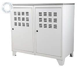 Armoire de rangement acier et bois, blanc et gris - 80*66