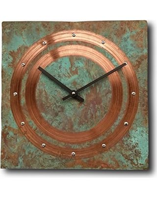 Inthetime Large Square Turquoise Copper Wall Clock 12 Inch Silent Non Ticking Gift For Home Office Kitchen Bedroom Living Room From Amazon Real Simple Rustic Clock Copper Decor Wall Clock