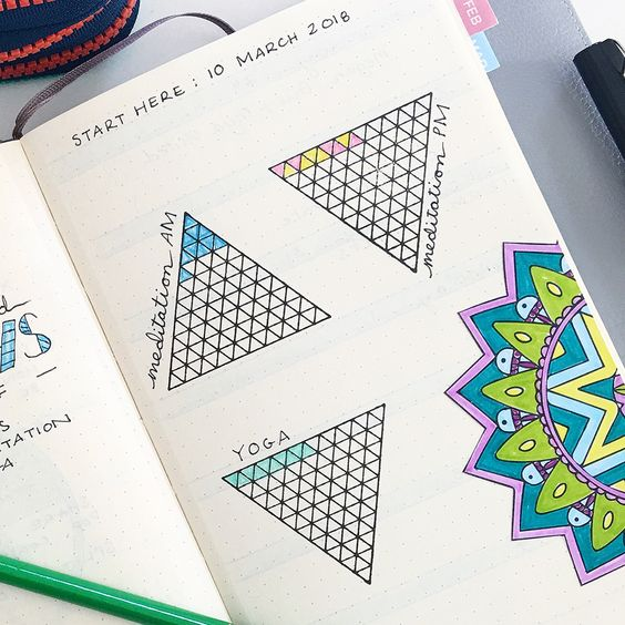 Simplify your bullet journal goal + habit tracking using these gorgeous spreads from Space and Quiet and stamps from Creatiate!