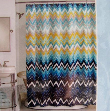 Peri shower curtain fabric hedges chevron for Blue and gold bathroom sets