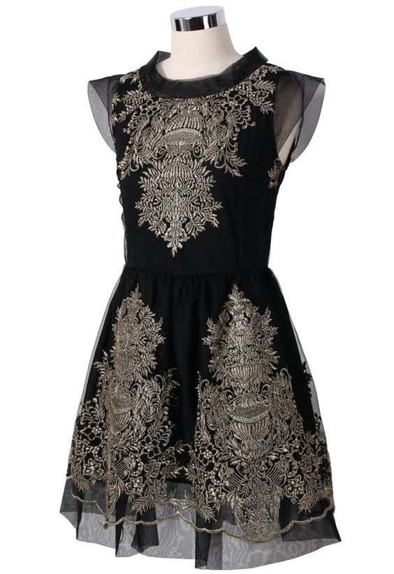 Embroidery Black Dress.
