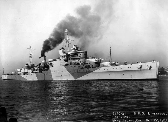 HMS Liverpool (C11) Royal Navy Town-class light cruiser at Mare Island, USA.