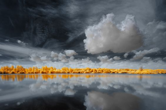 yellow trees line the lake as the approaching storm cast a beautiful reflection.