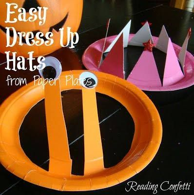 EASY TO MAKE PAPER PLATE HATS~These can be used for part of a costume or party craft. Fun to use for dress up anytime! http://www.readingconfetti.com/2012/10/easy-dress-up-hats-paper-plate-craft.html