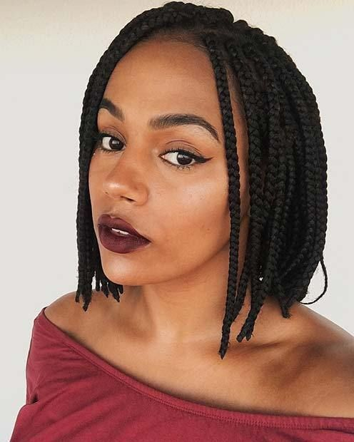 Pin By Zara Noble On Hair Style In 2020 Box Braids Bob Box Braids Styling Bob Box Braids Styles