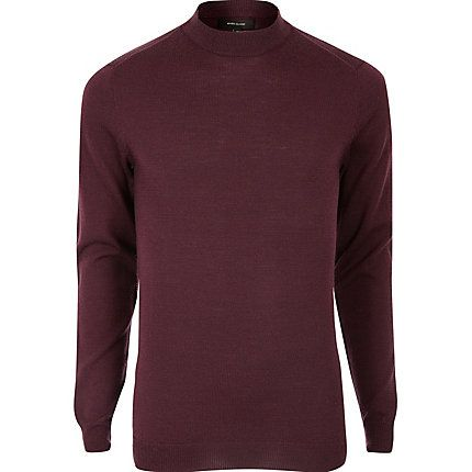 Burgundy merino wool high neck jumper £32.00