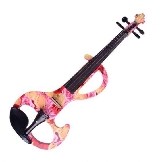 Rose design electric violin