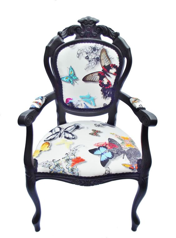 Christian lacroix designers guild fabric upholstered chair butterfly - Tissu christian lacroix ...
