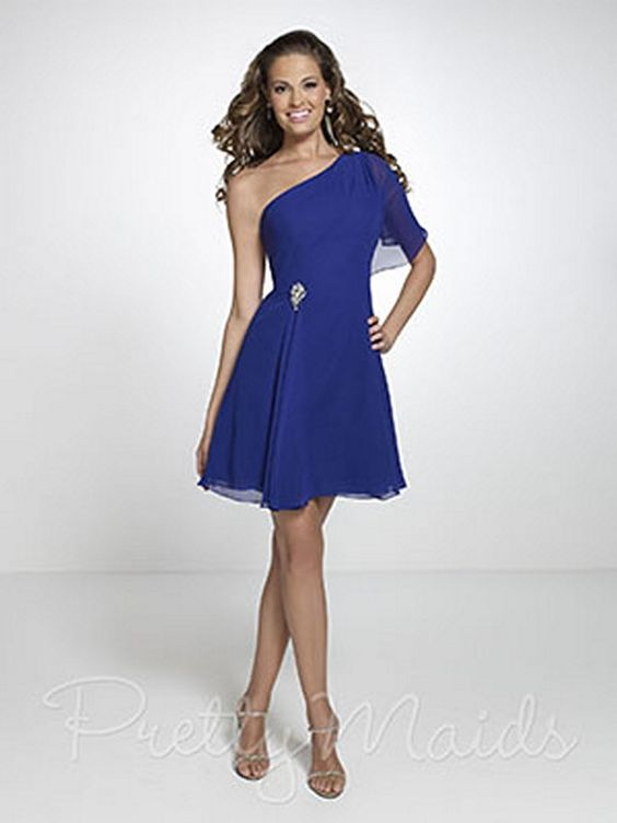 You will love the romantic look of this single ruffle sleeve. This Pretty Bridesmaids 22536 dress is a perfect choice for a lovely evening. Featuring an asymmetrical neckline and a short frilly skirt, this royal chiffon dress will attract the attention of every person in the crowd. The crystal embellishment at waist adds drama to the dress. The chiffon short A-line skirt adds a feminine flair while the ruffle sleeve gives a youthful and playful touch to the dress.