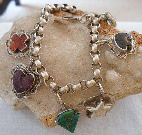 Navajo Sterling Carved Turquoise Spiny Heart Cross Charm Bracelet Signed Segura