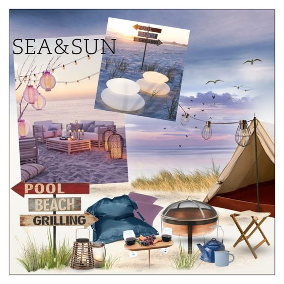 Beachside camping by szaboesz on Polyvore featuring interior, interiors, interior design, home, home decor, interior decorating, Dot & Bo, We Are Massiv., Fatboy and Grandin Road