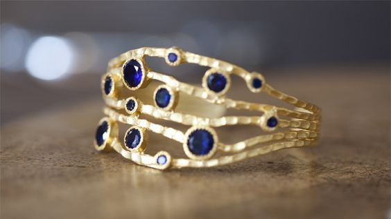 September Sapphires :: Hammered Gold Cuff by Kevia