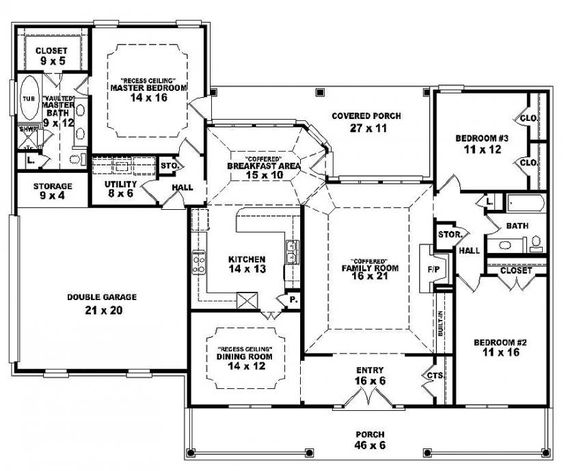 One story open floor plans one story 3 bedroom 2 bath for Traditional open floor plans