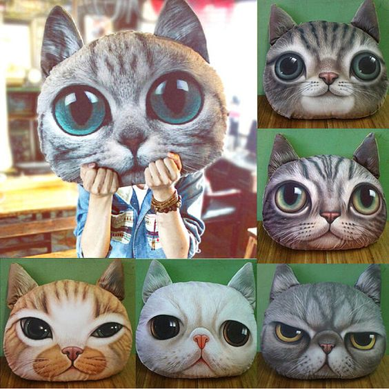Cute Cat Face Pillow With Core    Adorable design cushion with soft texture! Perfect for gift and home decoration!  Material: Soft Plush.  Filling: PP