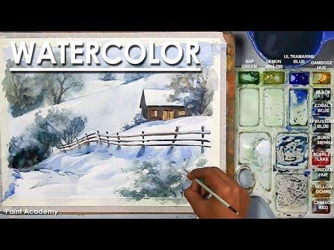 Cottage In The Snow Watercolor Winter Scene Step By Step