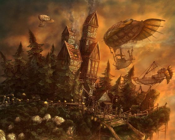 fantasy landscape fantasy steampunk wallpaper steam and