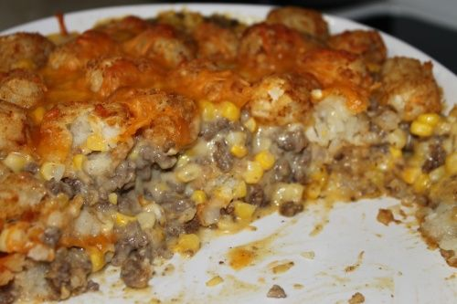 Made this cowboy tater tot casserole tonight. I substituted the cream of chicken soup with some chicken stock, cornstarch and a packet of ranch dressing mix to make it gluten free. It is so nummy!!! -Jamie Rieth