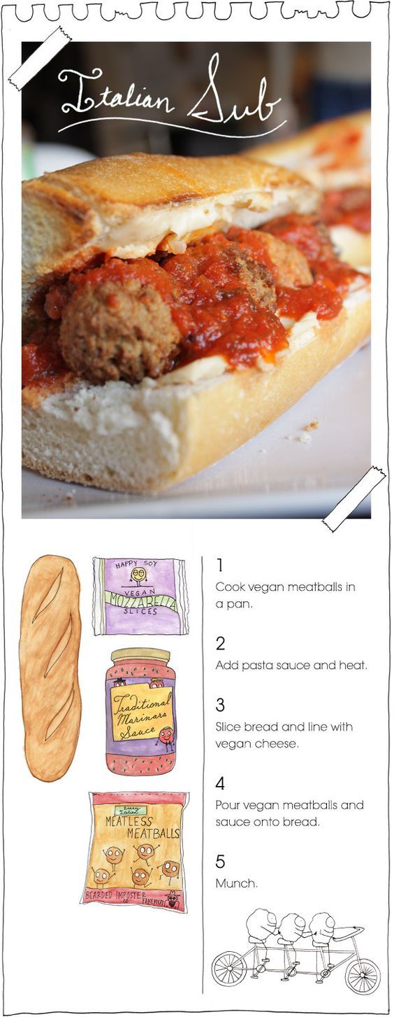 "Forget the vegan part, use the real ingredients of these and just the vegan guidelines: ""Italian Sub"" String Cheese, marinara sauce, Bread, meatballs"