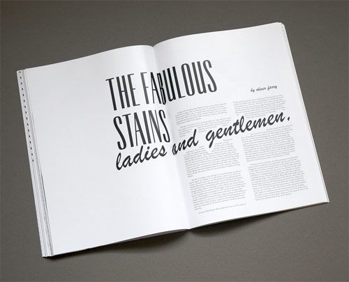 fabulous stains, i love the script type running into the body copy, layout white negative space