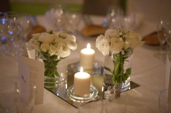 Centre de table avec miroir mariage d co tente sono for Decoration sur miroir