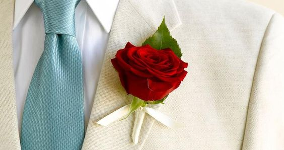 #Red #rose boutonniere! #wedding