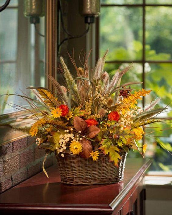 Fall Grass & Mum Basket