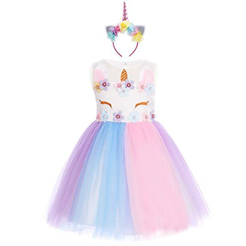 Girls Unicorn Tutu Fancy Party Dress up Cosplay Costume for Kid Birthday Outfits