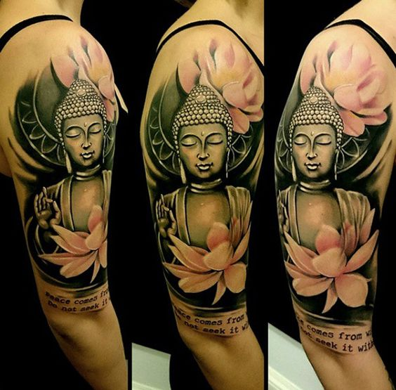 A popping Buddha portrait and a lotus sleeve could offer much more meaning and color in your life with a quote either from Buddhism or a quote that you've lived with.