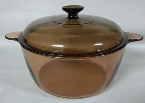 5 qt 4 5l dutch oven stock pot vision corning ware pyrex amber glass nice amber pots and. Black Bedroom Furniture Sets. Home Design Ideas