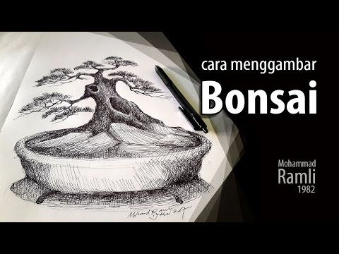 Cara Menggambar Bonsai Youtube Gambar Cara Menggambar Lukisan Pohon