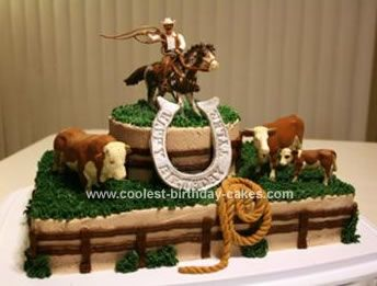 Homemade Cowboy Roundup Cake: I made this double chocolate Cowboy Roundup Cake  cake for my nephew Tyler's 6th birthday tomorrow.  I made a 9x13 for the bottom and a 6 round for the