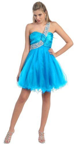 Interesting... //One Shoulder Cocktail Party Junior Prom Dress #709 (10, Turquoise) US Fairytailes, http://www.amazon.com/dp/B0054DAD4Q/ref=cm_sw_r_pi_dp_Meifqb1D6VXYC