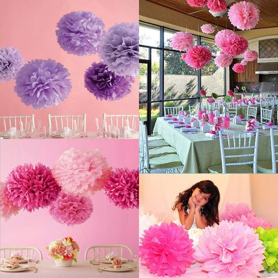 Details zu 10stk papier pompon pompoms hochzeit party for Dekoration blumen