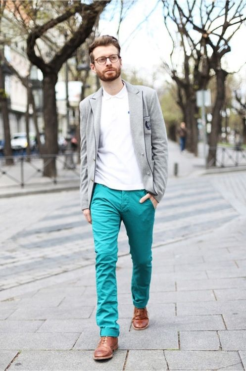 Shop this look on Lookastic:  http://lookastic.com/men/looks/white-polo-grey-blazer-tan-brogues-aquamarine-chinos/3155  — White Polo  — Grey Wool Blazer  — Tan Leather Brogues  — Aquamarine Chinos