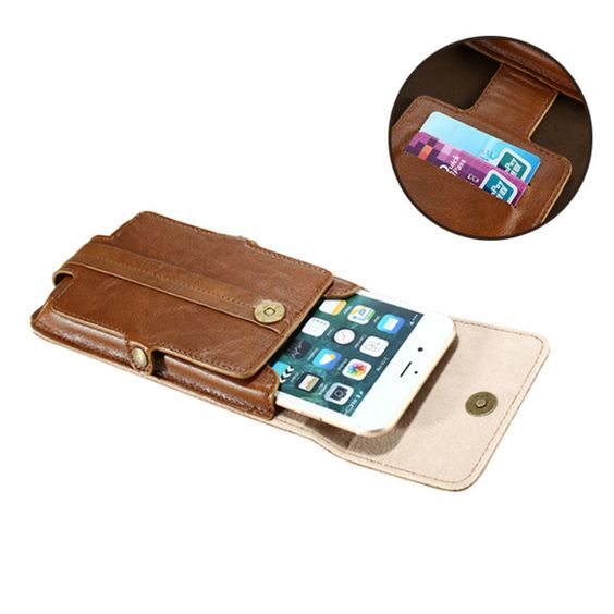 FLOVEME 2 Card Slots Phone Bag 5.5'' Smart Phone Wallet PU Leather Waist Bag For Men
