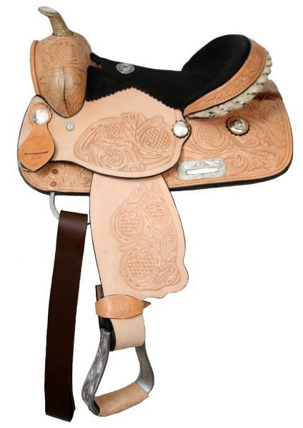 "12"" Double T youth saddle with suede leather seat with floral tooling on pommel skirts & cantle"