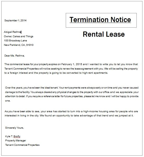 Rental Termination Notice Template Templates Being A Landlord