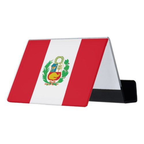 Peruvian Flag Desk Business Card Holder Zazzle Com Business Card Holders Peruvian Flag Red And White Flag