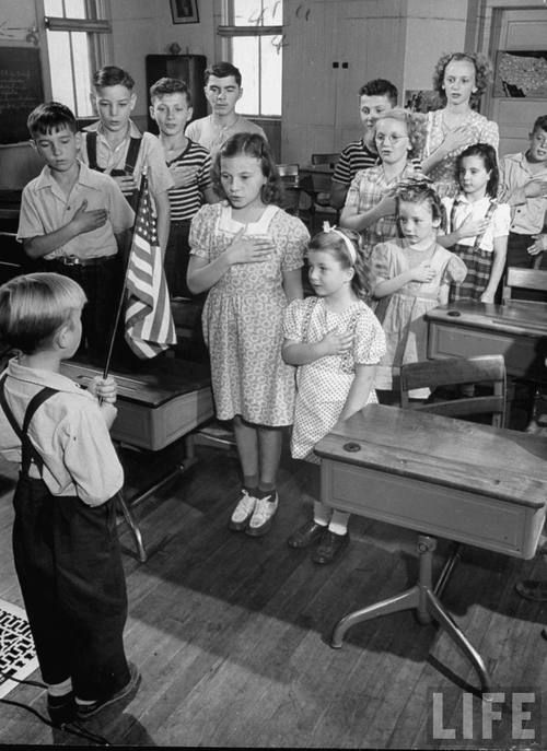 I pledge allegiance in a one-room schoolhouse.