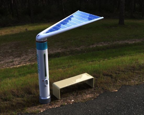 It S A Solar Powered Bus Stop Which Also Doubles Up As A Device That Collects Water And Purifies W Paradas De Autobuses Mobiliario Urbano Productos Innovadores