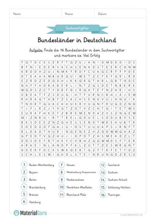 Neu Ein Kostenloses Arbeitsblatt Zum Thema Bundeslander