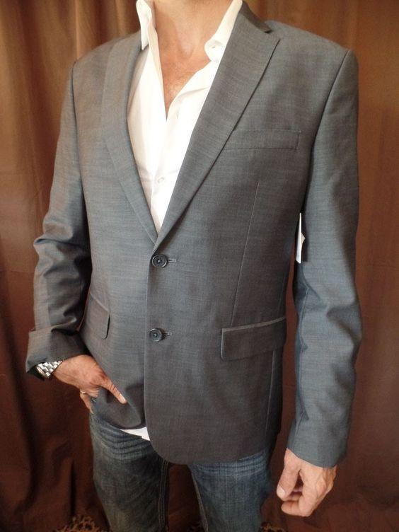 CALVIN KLEIN MENS Ombre Blue Gray Sport Coat Jacket Blazer NEW