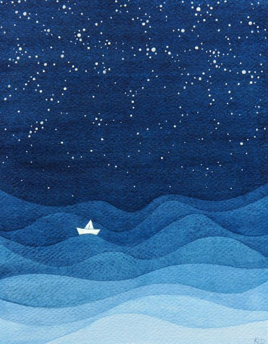Alone in the night sea:
