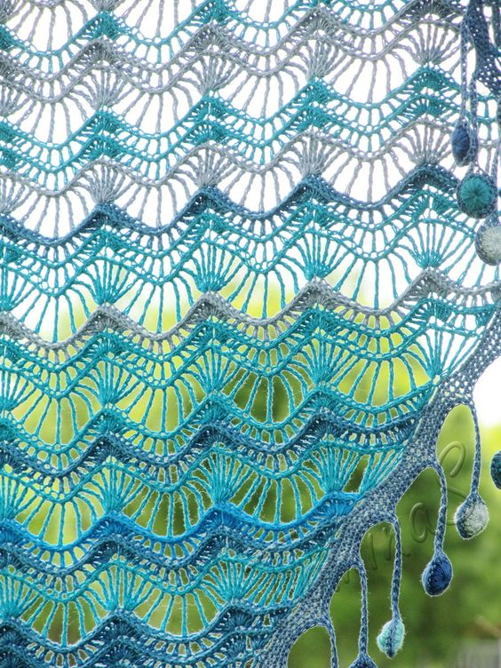 """""""Oceania"""" (crochet shawl, lace wrap, crochet lace, Beautiful wraps for purchase"""