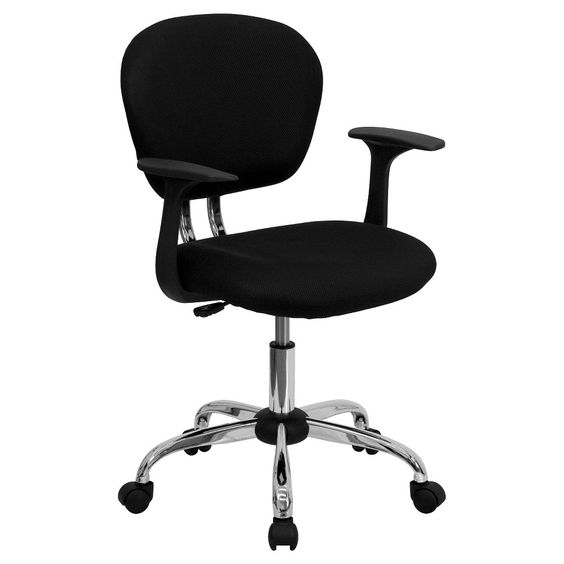 Swivel Task Chair with Arms Chrome Black Mesh - Flash Furniture
