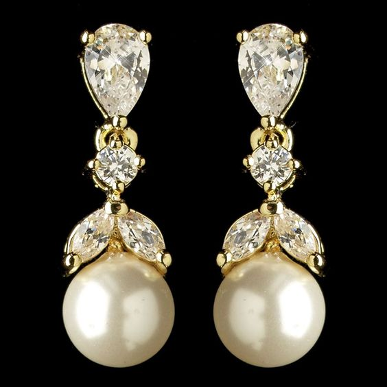 'Marianne' gold crystal pearl vintage style wedding earrings, £30.00:
