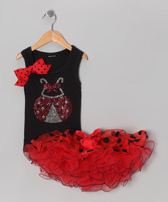 Look at this #zulilyfind! Black Ladybug Tank & Red Tutu - Infant, Toddler & Girls by So Girly & Twirly #zulilyfinds