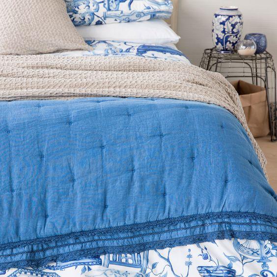 edredn lino lavado puntilla azul edredones cama zara home espaa